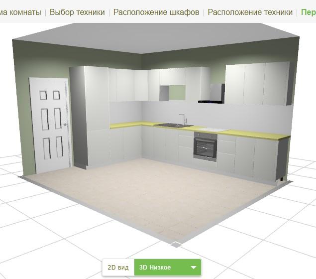 3D кухня самостоятельно онлайн